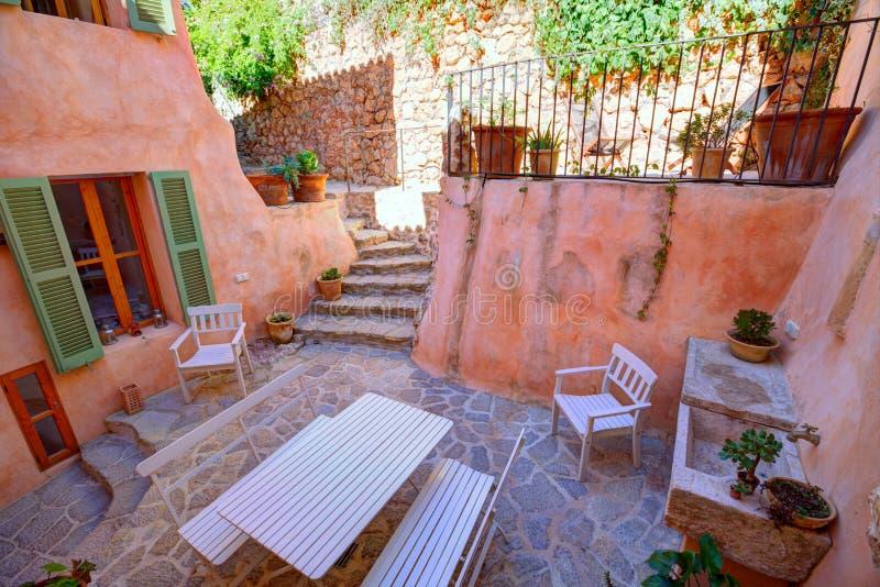 Majorca Balearic house patio in Balearic islands royalty free stock photography
