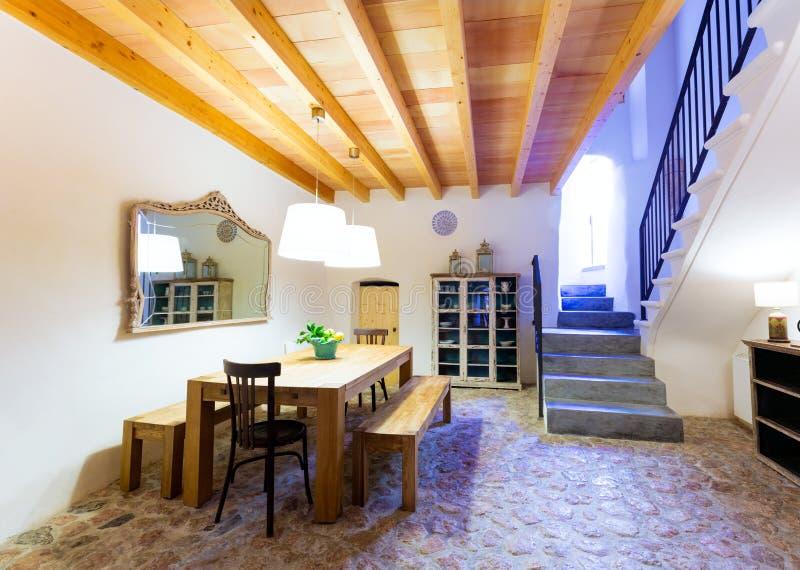 Majorca Balearic inomhus hus i Balearic medelhavs- stil fotografering för bildbyråer