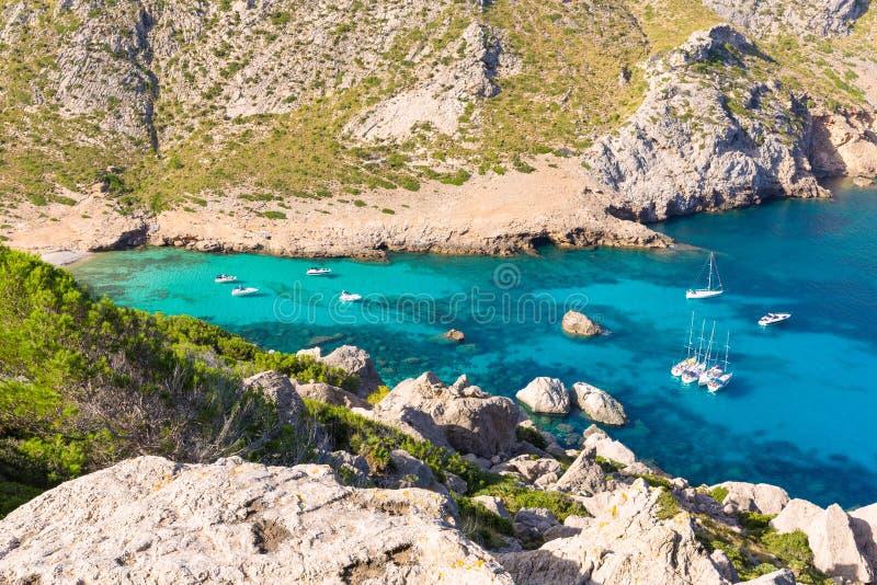 Majorca Cala Figuera strand av Formentor Mallorca royaltyfria foton