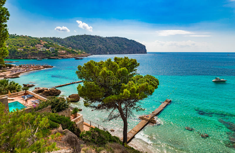 Majorca Spain, beautiful view of Camp de Mar Bay. Beautiful sea view of the bay in Camp de Mar on Majorca island, Spain Mediterranean Sea, Mallorca Balearic stock image
