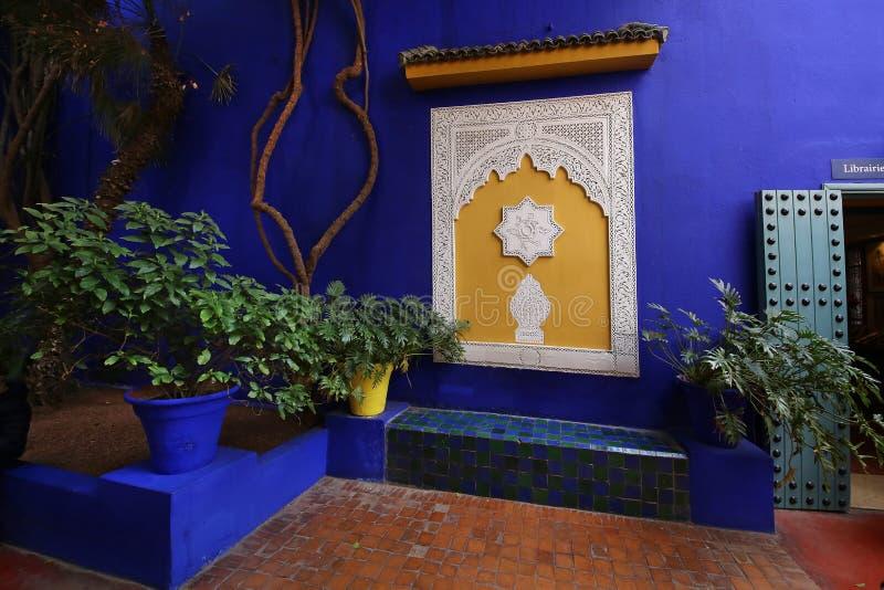 Majorelle tr?dg?rd i Marrakesh, Marocko arkivfoto