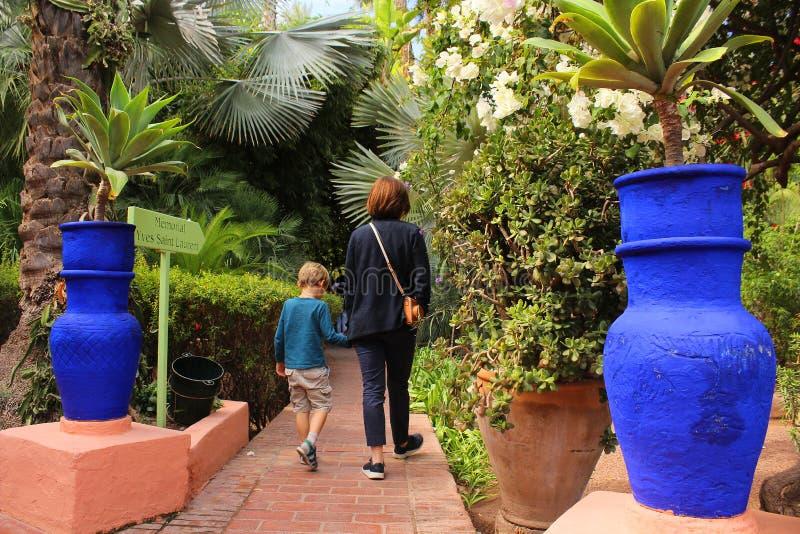 Majorelle trädgård - moder med den lilla sonen som går bland härliga växter och stora dekorativa blåa blomkrukor fotografering för bildbyråer