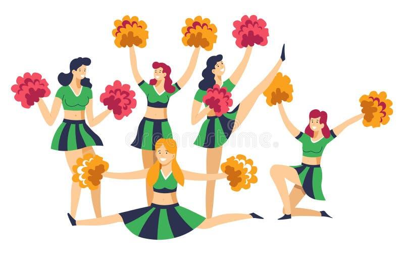 Majorettes dans l'uniforme avec des pompons encourageant vers le haut de l'équipe de sport illustration stock