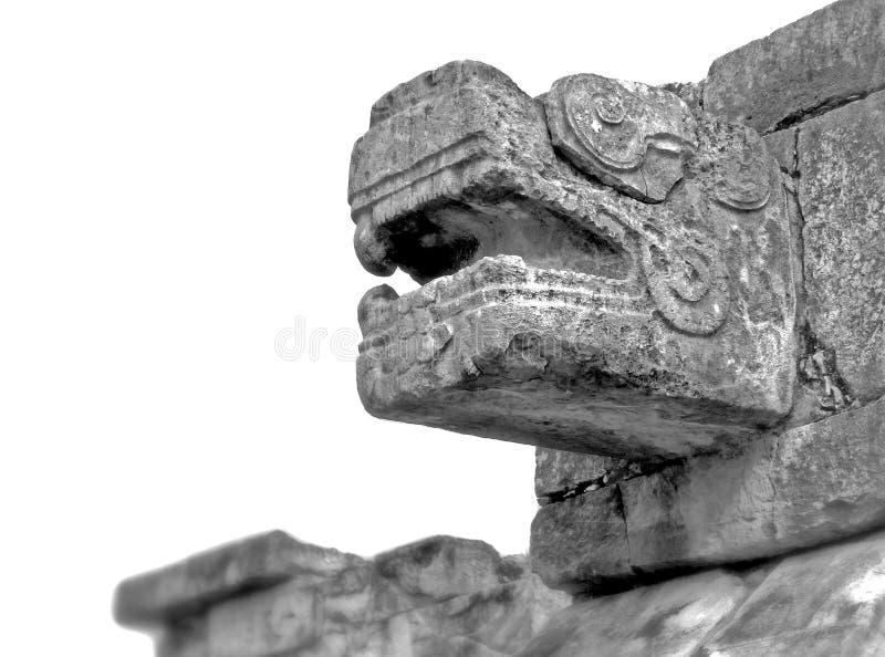 Majowie Rzeźbiący Kamienny Scultpure przy Chichen Itza obrazy stock