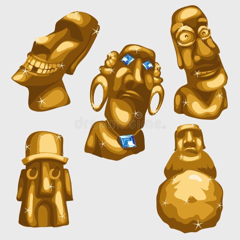 Majowie rzeźby od złota z szafirami ilustracja wektor