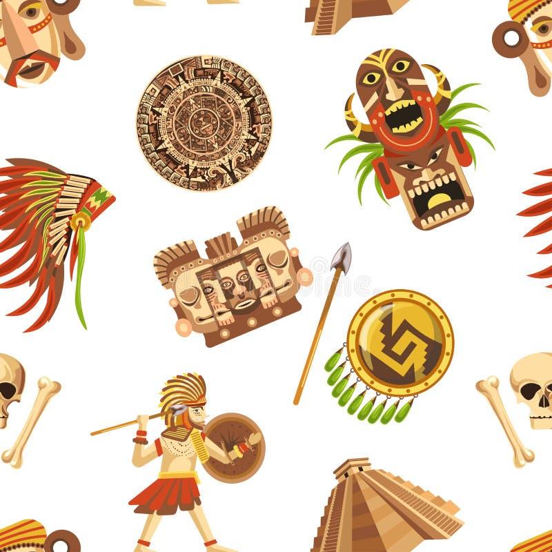 Majowie tradycyjni atrybuty i antycznych bezcennych relikwii bezszwowy wzór royalty ilustracja