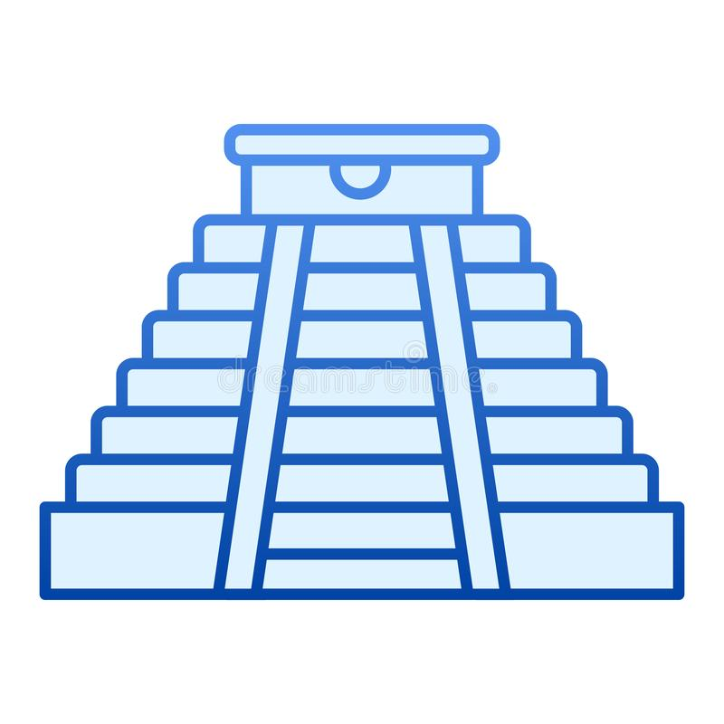 Majska ostrosłupa mieszkania ikona Aztek pomnikowe błękitne ikony w modnym mieszkaniu projektują Antycznej świątyni gradien ilustracji