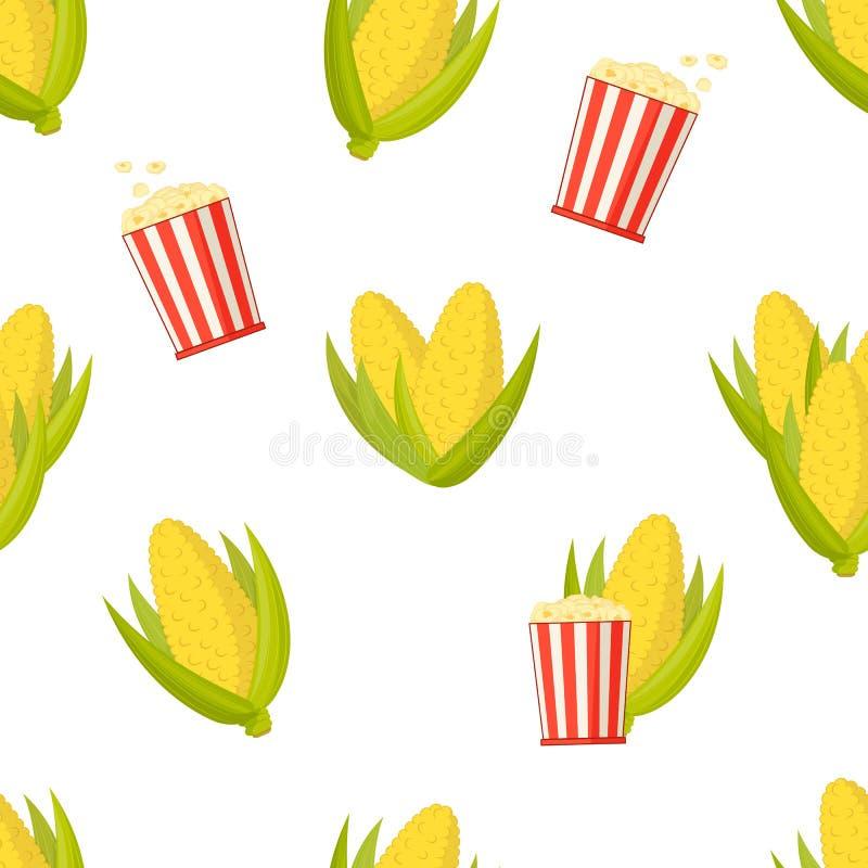 Majskolvar av majs och fulla hinkar av popcorn, sömlös modell stock illustrationer