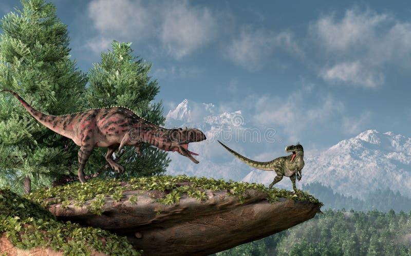 Majungasaurus et Monolophosaurus illustration de vecteur