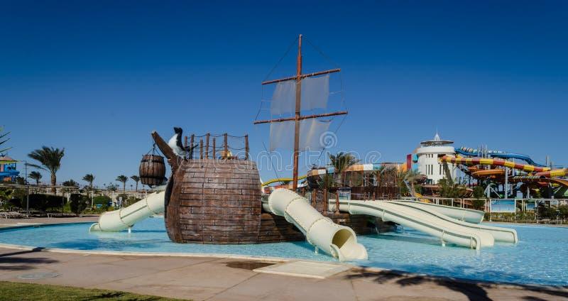 Makadi †'Styczeń 2016: Wodny park, Makadi Wodny świat, Hurghad obraz royalty free