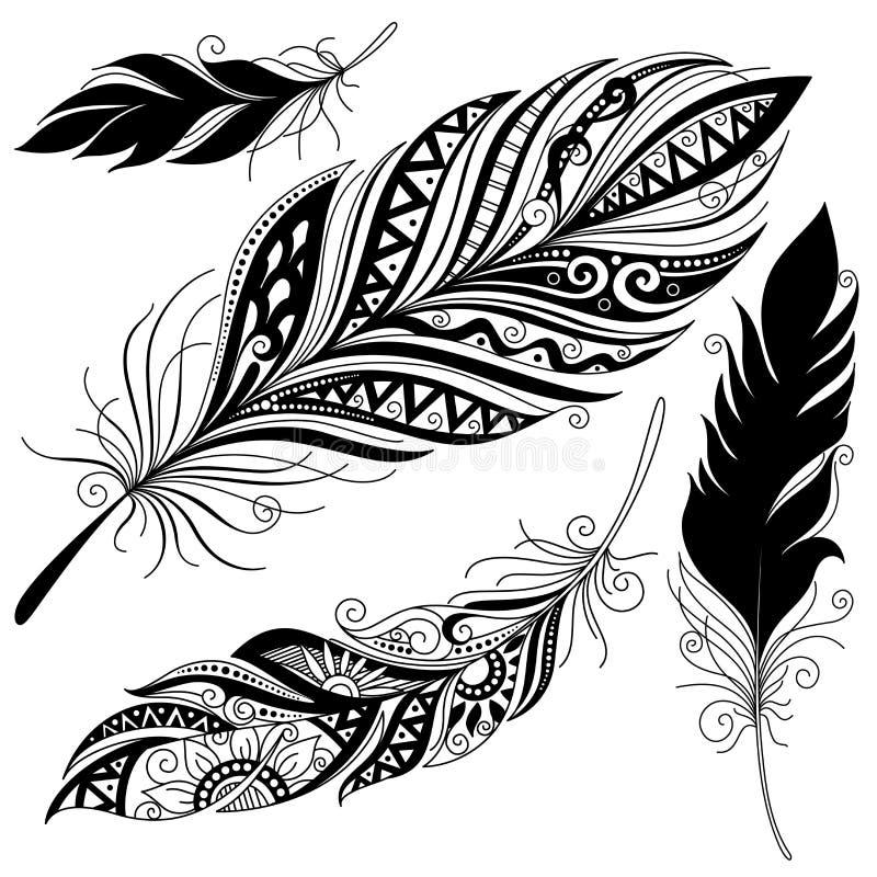 Makalös dekorativ fjäder för vektor vektor illustrationer