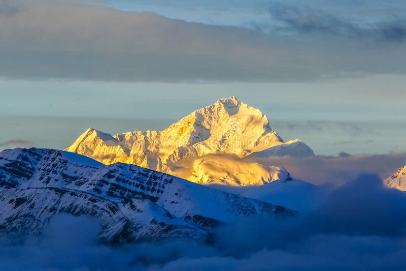 Makalu. The world's fifth highest peak, 8463 meters above sea level, is located in the territory of China. Tibet, China stock image