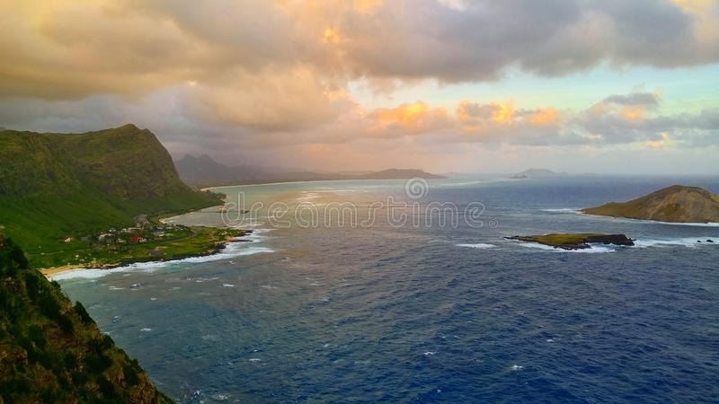 Makapu& x27;u hike. Rabbit island Oahu Hawaii sunrise ocean beach nature stock image