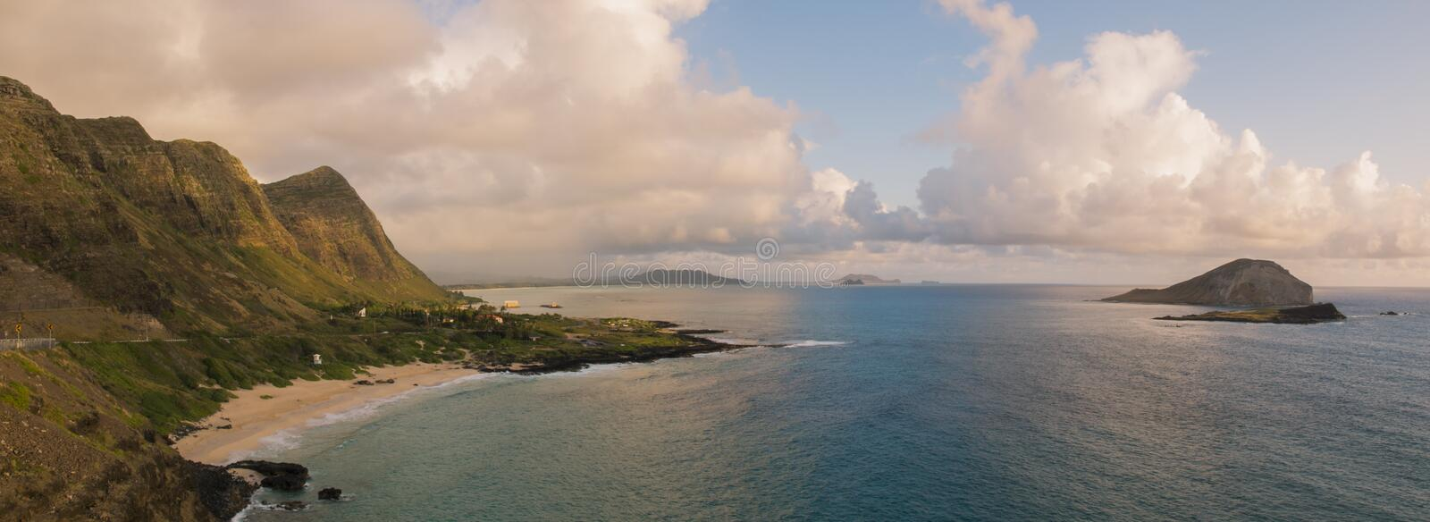 Makapu'u Lookout. Once used as a bathing area by princesses and queens, Makapu'u Beach is now enjoyed by thousands of Oahu locals and tourists royalty free stock images
