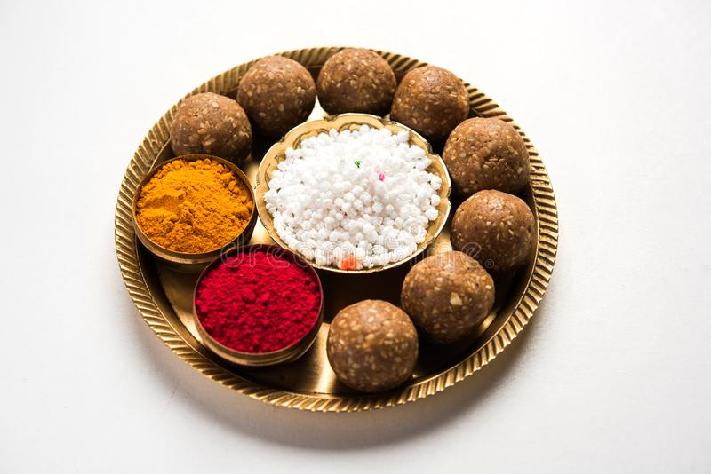 Makar Sankranti - Tilgul or Til Gul with haldi Kumkum and halwa/chiranji or sugar balls stock photography