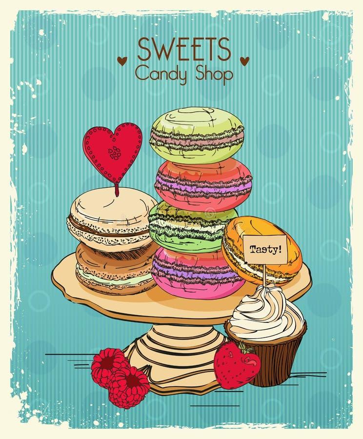 makaron Affiche met traditionele Franse makaroncakes, cupcakes en bessen in uitstekende stijl Retro kaart vector illustratie