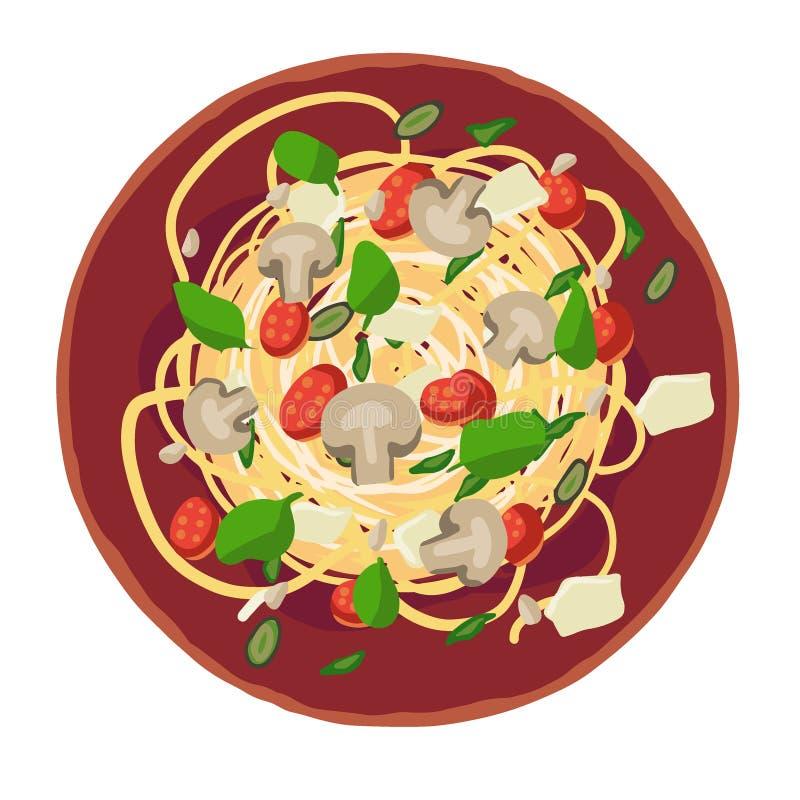 Makaron dobierający z spaghetti Wektorowa ilustracja dla menu ilustracji