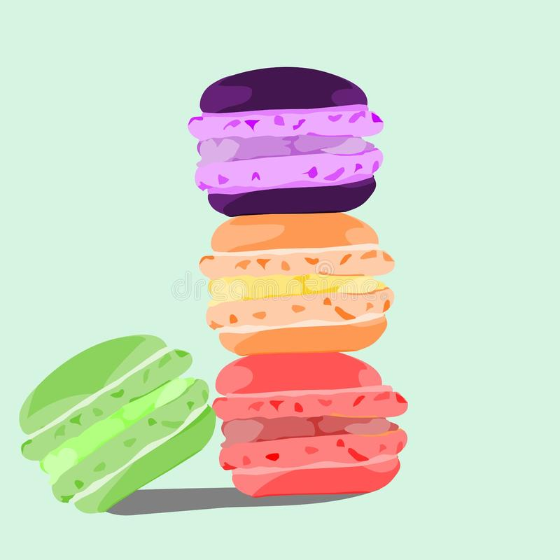 makaron macharon蛋糕设计例证墙纸 免版税图库摄影