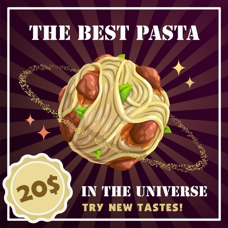 Makaron planety sztandar Spaghetti z klopsikami ilustracyjnymi ilustracja wektor