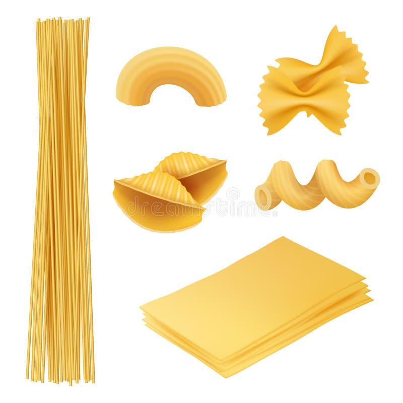 Makaron realistyczny Włoskich karmowych farfalle fusilli makaronu kucharza składników wektorowi obrazki tradycyjna kuchnia ilustracji