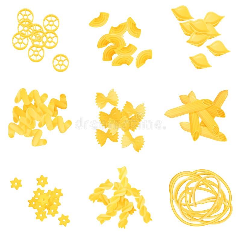 Makaroni i olika variationer Uppsättning av olika makaronityper som isoleras på vit bakgrund Naturlig look vektor illustrationer