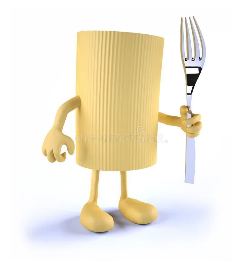 Makaronowy makaron z rękami, nogami i rozwidleniem na ręce, ilustracji