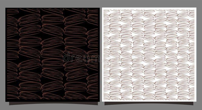 Makarons naadloos patroon Franse chocolademacaroni op achtergrond royalty-vrije illustratie