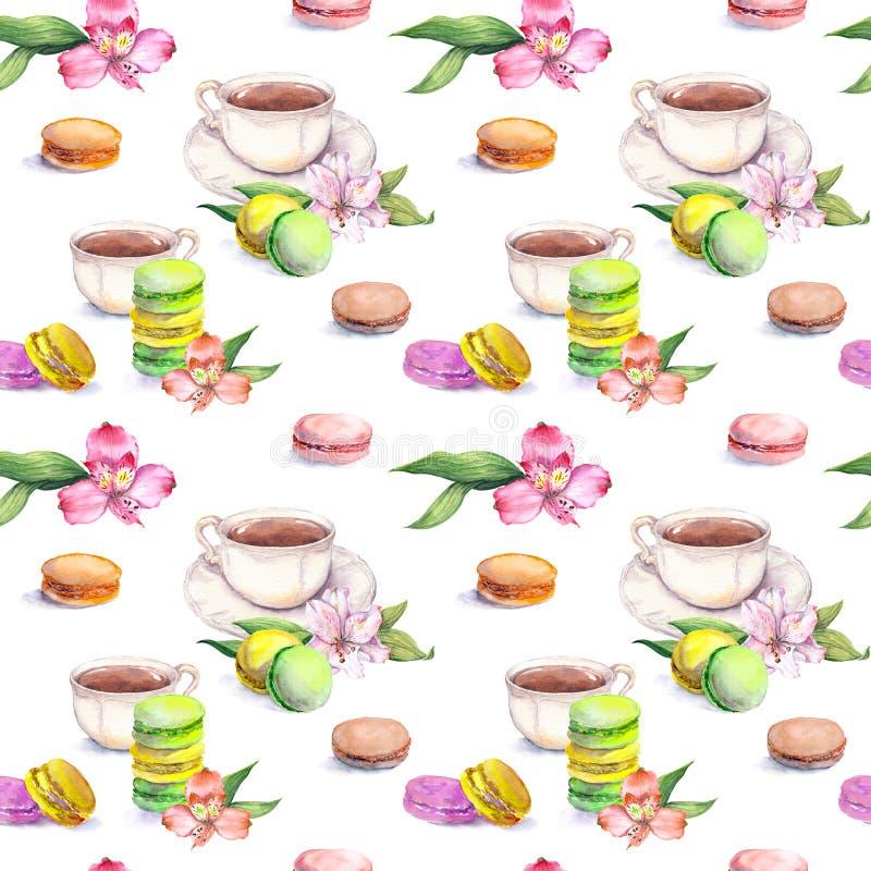Makaronscakes, theekop en bloemen Mooi teatimepatroon Naadloze waterverf royalty-vrije illustratie