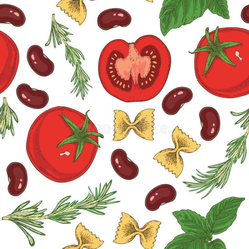 Makaronu, fasoli, ziele i pomidorów Bezszwowy wzór, royalty ilustracja