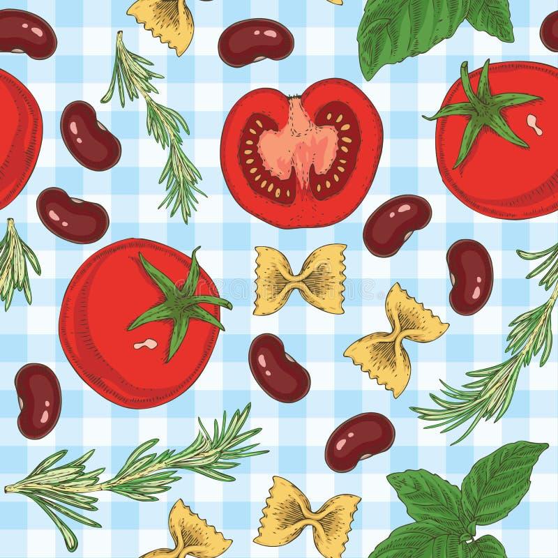 Makaronu, fasoli, ziele i pomidorów Bezszwowy wzór, ilustracja wektor