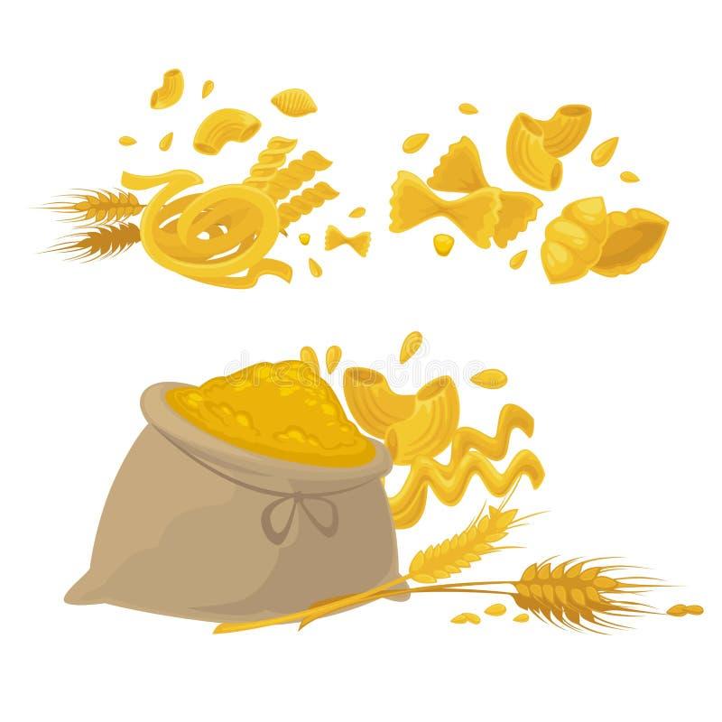 Makaronu i pszenicznej mąki produktów wektoru ikony ilustracji