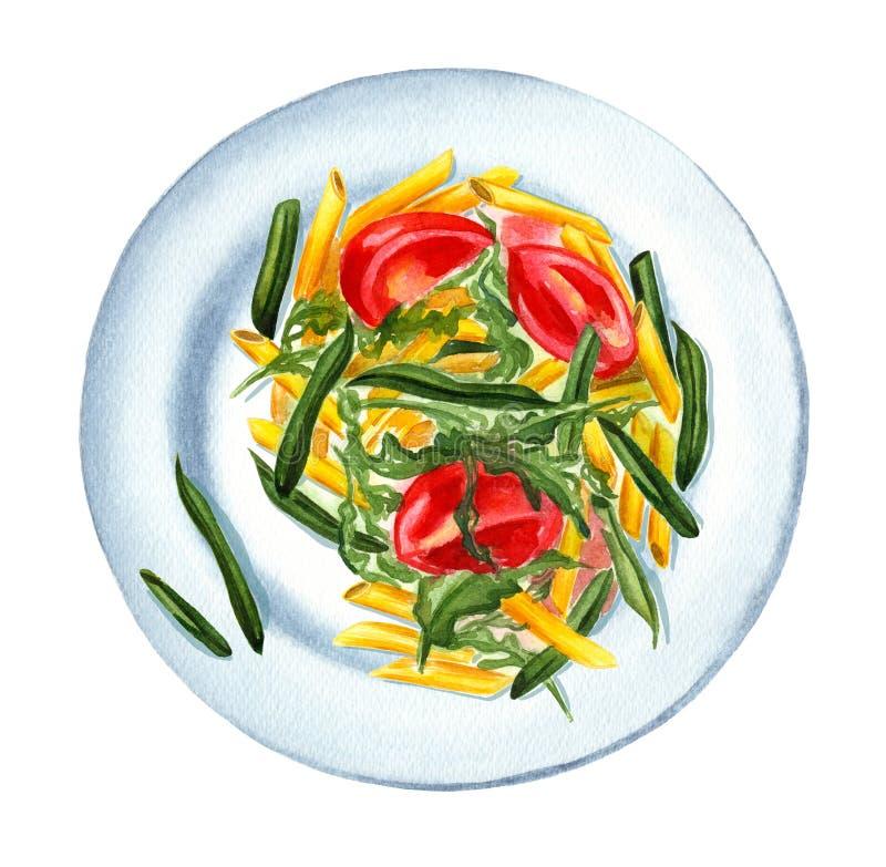 Makaronu penne rigate z warzywami na talerzu ilustracja wektor