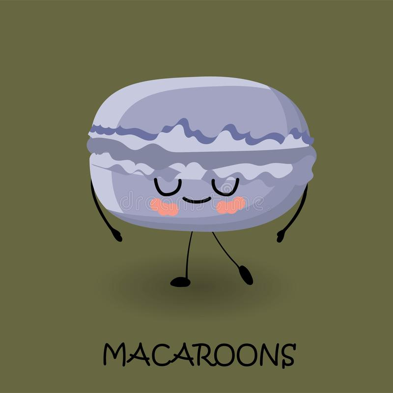 Makaroon character with face and smile. Kawaii sweets and desserts. Delicious sweets and sweets stock illustration