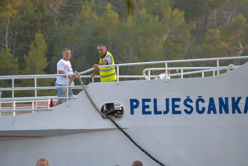 Ferry to Brac island leaving fisherman`s Wharf of Makarska city in Makarska, Dalmatia, Croatia on Jun royalty free stock photo