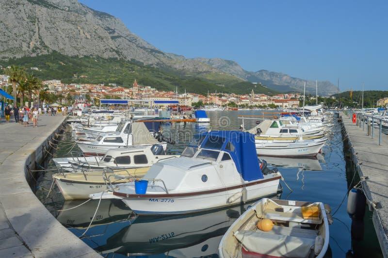 Fisherman`s boats in wharf in Makarska, Croatia on June 9, 2019. royalty free stock photography