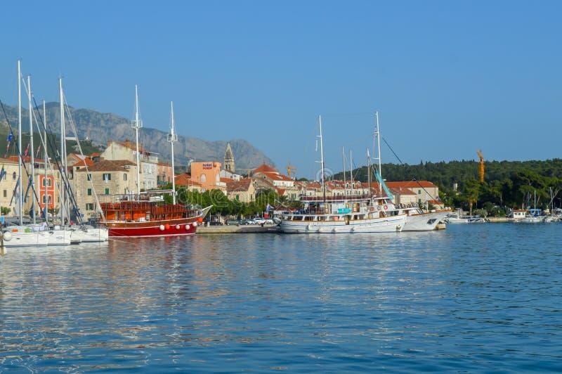 Fisherman`s boats in wharf in Makarska, Croatia on June 9, 2019. stock images