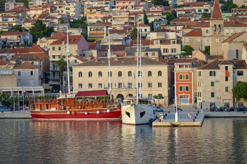 Panoramic view of Makarska city center from the sea in Makarska, Croatia on June 16, 2019. stock photo