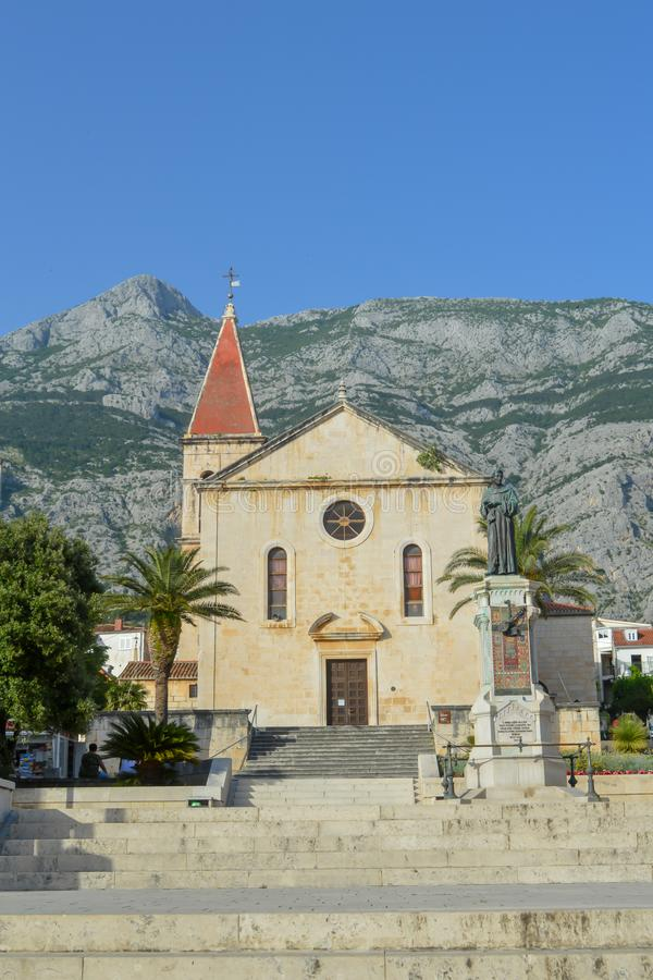 The Church of St. Philip in Makarska, Dalmatia, Croatia on June 9, 2019.MAKARSKA, CROATIA - JUNE 9: Saint Marka Cathedral in Makar stock image