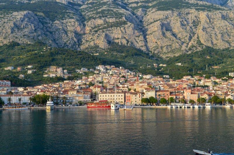 View of Makarska city center from the sea in Makarska,  Dalmatia, Croatia on June 11, 2019. royalty free stock photo