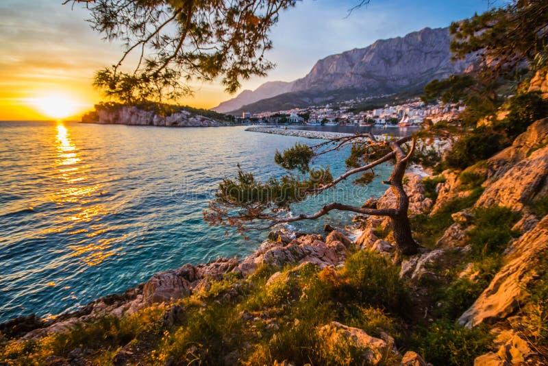 Makarska. Pronounced [mâkarskaː] is a small city on the Adriatic coastline of Croatia, about 60 km 37 mi southeast of Split and 140 km 87 mi northwest of royalty free stock photo