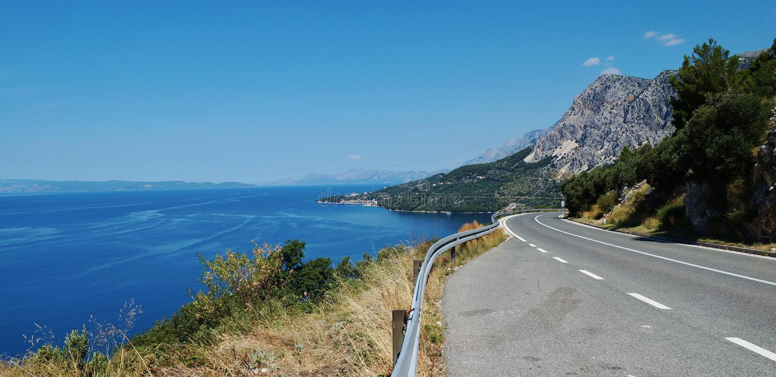 The Makarska Riviera in Croatia. The sunny Makarska Riviera, which stretches for 60 kms in Dalmatia along the Adriatic Sea, is one of the most popular tourist stock photo