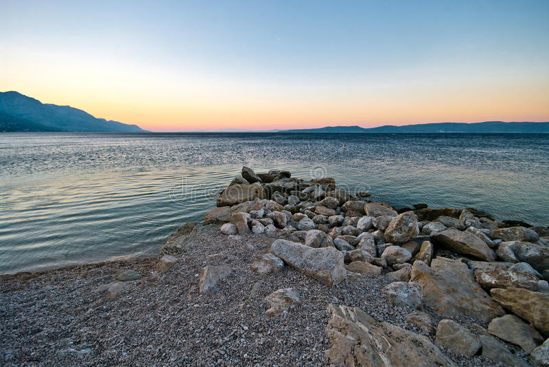 Makarska Riviera.Wiev From Beach. Royalty Free Stock Photo
