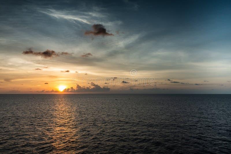 Sunset over Makassar Strait, South Sulawesi, Indonesia stock images