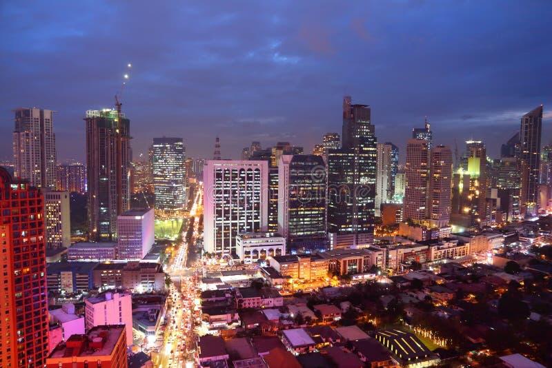 Manila city night. Makati city night skyline in Manila, Philippines. Office buildings stock images