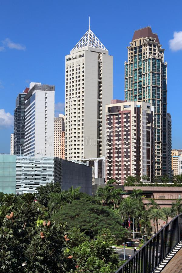 Makati skyline, Manila. Makati city skyline in Manila, Philippines. Office buildings royalty free stock image