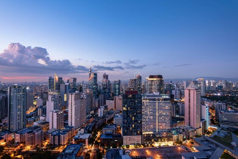 Makati linia horyzontu Manila, Filipiny (-) obraz stock
