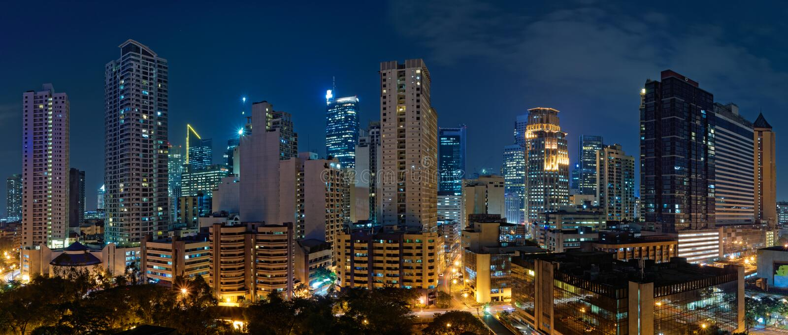 Makati, Manila (Philippines) at night royalty free stock images