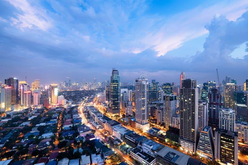 Makati Skyline in Manila. Makati City Skyline at night. Manila, Philippines stock images