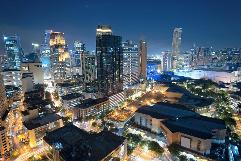Makati skyline (Manila - Philippines). Eleveted, night view of Makati, the business district of Metro Manila stock photo
