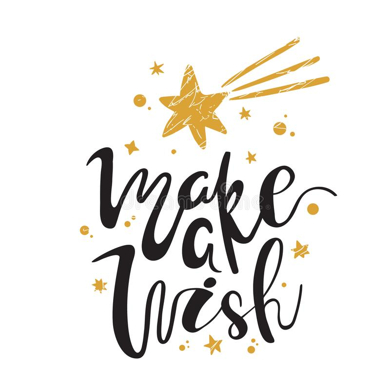 Free Make A Wish. Calligraphy. Handwritten Brush Lettering For Greeting Card, Poster, Invitation, Banner. Hand Drawn Design Royalty Free Stock Photography - 110747507